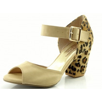 Sandália Glamm Salto Grosso Onça Nude - Sapatos Mania