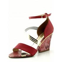 Sandália Glamm Salomé Salto Grosso Vermelha - Sapatos Mania