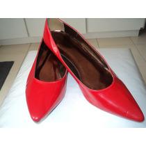 Sapato Scarpin Salto Baixo Verniz Vermelho 38 Rosa Amarela