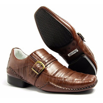 Sapato Masculino Em Couro Plissado Social Com Fivela