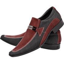 Sapato Social Casual Lona Jeans Confort Promoção Lançamento