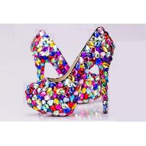Sapato Scarpin De Cristais Coloridos Noivas Calçado Import
