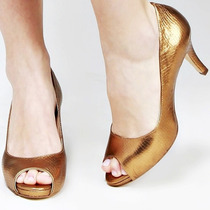 Sapato Peep Toe Biondini Dourado Cobra Couro Legítimo Nº 37