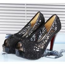 Pronta Entrega Sapato Importado Com Sola Vermelha Renda