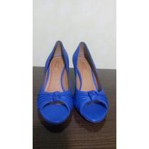 Sandália Peep Toe Azul Bic Arezzo N°37