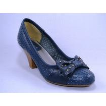 Sapato Feminino Salto 6 Cm Couro Azul Marinho Vl 2004-35