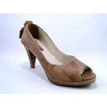Sapato Feminino Marrom Snake Couro Salto 8 Cm 1009-17
