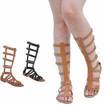 Sandálias De Couro Rasteiras Gladiadoras Alta