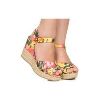 Sandália Plataforma Floral Amarela Com Salto Corda Taquilla