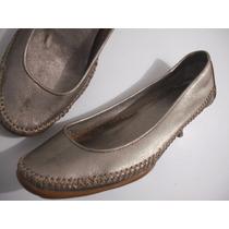 Sapato Feminino Dourado Tam 36 Couro, Salto Baixo Bom Estado