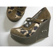 Sapato Anabela Tipo Boneca Lui Tm 37 Oncinha Com Marrom