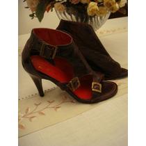 Ankle Boots Vermelho Escuro Fivela Tam. 35 Vinho Salto