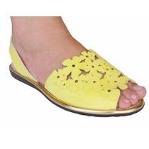 Sandalia Avarca Lekiz Feminino Rasteira - 02124l Amarelo