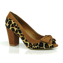 Peep Toe Em Couro Suzzara De Onça - 42508 - Vizzent Calçados