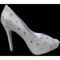 Sapato Meia Pata Branco Com Strass