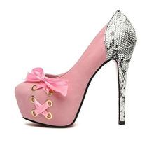 Sob Encomenda Sapato Feminino Laço Agulha Salto Cobra Ankle