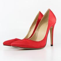 Sapato Salto Scarpin 11 Cm Preto E Vermelho Camurça