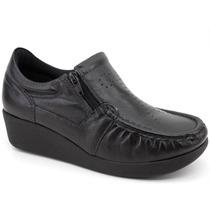 Sapato Usaflex Ziper Anatomico Ortopedico Couro Esporao-5766