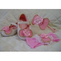 Sapato Infantil Customizado Com Pérolas Com Faixa Ou Tiara
