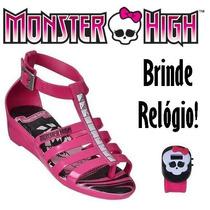 20%off Sandália Monster High Hora Do Arrepio Brinde Relógio