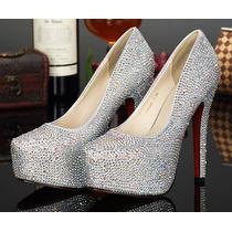 Yl044 Sapato Scarpin Importado Diamante Festa Frete Grátis