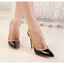 Yl043 Sapato Scarpin Importado Rebites Frete Grátis