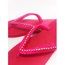 Chinelo Bordado Decorado Havaianas Strass E Cetim Rosa #042.