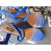 Sandalia Arezzo Salto Medio Nº33 Azul * Nova * Aceito Trocas
