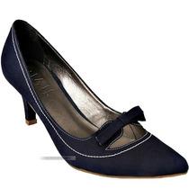 Sapato Scarpin Bico Fino Givit Couro Azul Marinho Salto 37 8