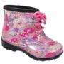 Bota Galocha Cano Baixo Baby Cadarço Floral Rosa 990581