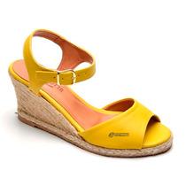 Sandalia Feminina Sapato Anabela Sapatilha Jeans Peep Toe