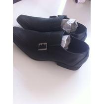 Sapato Social Masculino Couro Bico Quadrado Fivela Promoçao