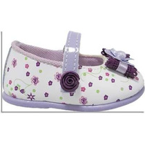 Sapato Sapatinho Social Feminino Para Bebê - Branco C/ Lilás