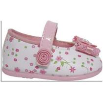Sapato Sapatinho Social Feminino Para Bebê - Branco C/ Rosa