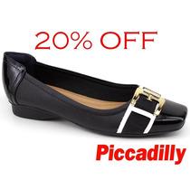 20%off Sapatilha Piccadilly Maxitherapy Preto Fivela 147041