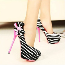 Sapato Feminino Zebra Pronta Entrega Laço Salto Agulha Rosa