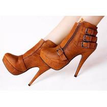 Sapato Feminino Ankle Bota Salto Alto Pronta Entrega Fivela