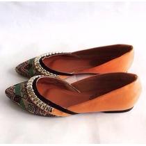 Sapatilha Decorada Marrom Leluel Shoes Inspiração Arezzo