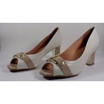 Sapato Feminino Peep Toe Vizzano Pelica - Branco-off