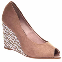 Sapato Anabela Beira Rio Peep Toe Camurça Linda Leve 4774301