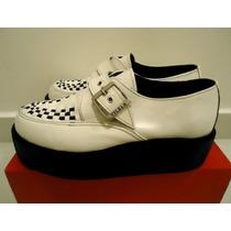 Sapato Creeper Branco Fivela Vilela Punk Rockabilly Rock Ska