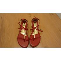 Sandália Rateirinha Vermelha E Dourado Pé De Anjo Tamanho 42