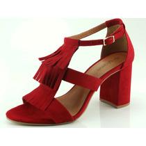 Sandália Glamm Salto Grosso Franja Sapatos Mania