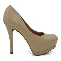 Sapato Feminino Scarpin Vizzano 1157300 Bege Verniz