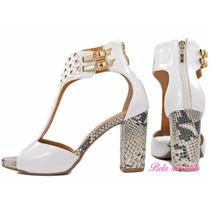 Sandália Branca Com Dourado Torricella! Linda ! Confortável!
