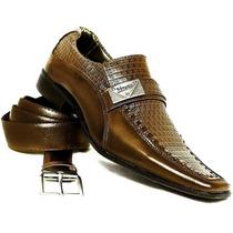 Sapato Social Masculino Em Couro Kit Exclusivo Sapato+cinto