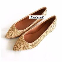 Sapatilha Bordado Creme Marca Leluel Shoes Inspiração Arezzo