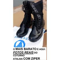 Coturno Tatico Atalaia Bota Militar Ultra Leve Brilho Ziper