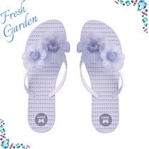 Chinelo Zaxy Fresh Garden - Flores Prata By Dream Store