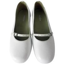 11017 - Sapato Boneca Social Branco Verniz Em Couro